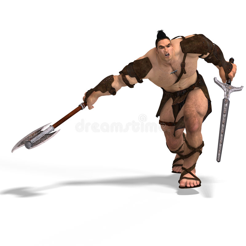 Muscular Barbarian Fight with Sword and Axe stock illustration