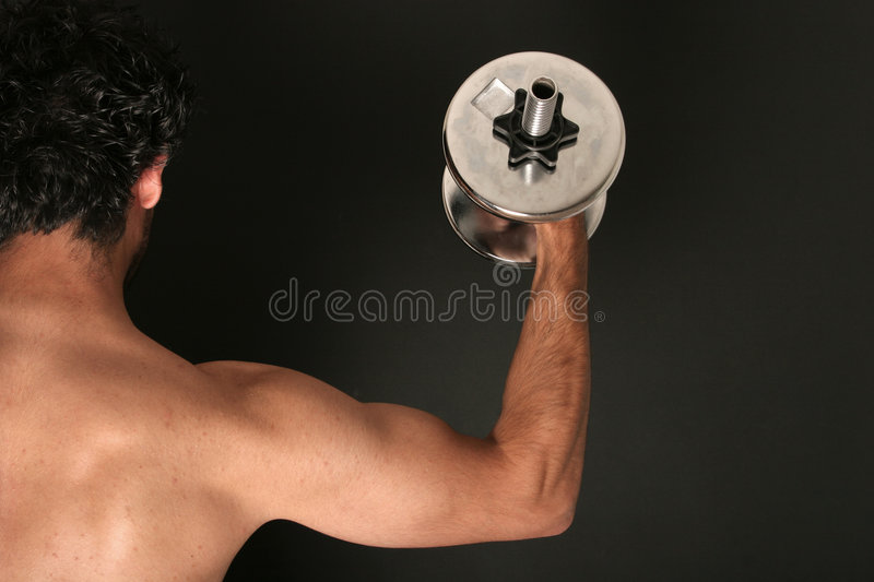 Muscular body builder royalty free stock photo