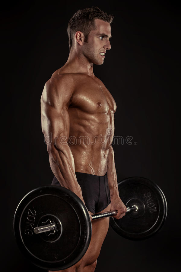 Muscular bodybuilder guy doing exercises with big dumbbell dumbbell royalty free stock image