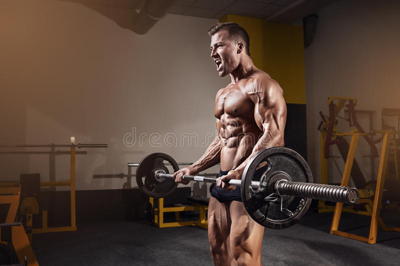 Muscular bodybuilder guy doing exercises with dumbbell stock images