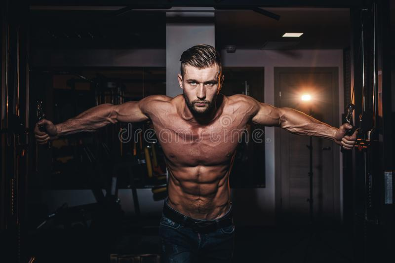 Muscular bodybuilder handsome men doing exercises in gym with naked torso. Strong athletic guy with abdominal muscles and biceps. stock image