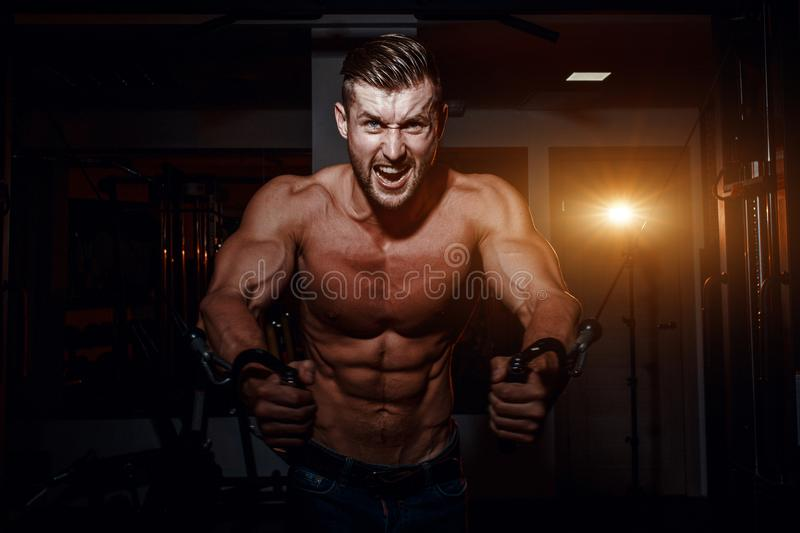 Muscular bodybuilder handsome men doing exercises in gym with naked torso. Strong athletic guy with abdominal muscles and biceps. royalty free stock photos
