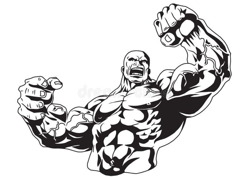 Muscular bodybuilder vector illustration