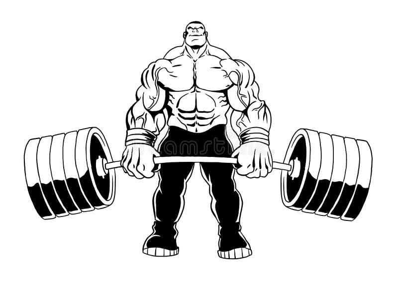 Muscular bodybuilder lifts heavy barbell. Illustration, cartoon, clipart, logo royalty free illustration