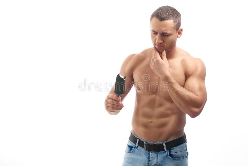 Muscular Bodybuilder Looking At Ice Cream Thinking Stock Photo Image Of Jeans Attractive 139207644