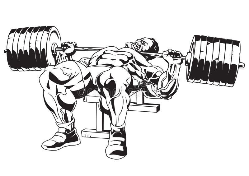 Muscular bodybuilder in training vector illustration
