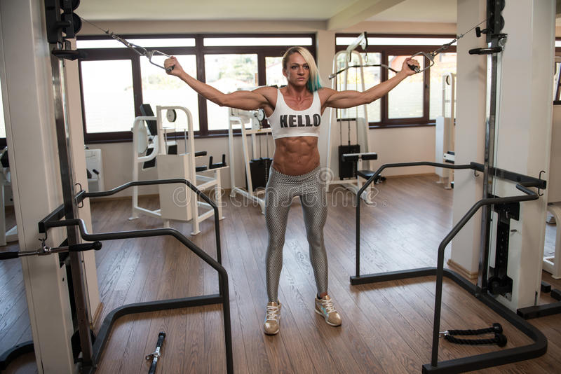 Muscular Bodybuilder Woman Performing Cable Crossover. Mature Woman Is Working On Her Chest With Cable Crossover In A Fitness Centar stock images