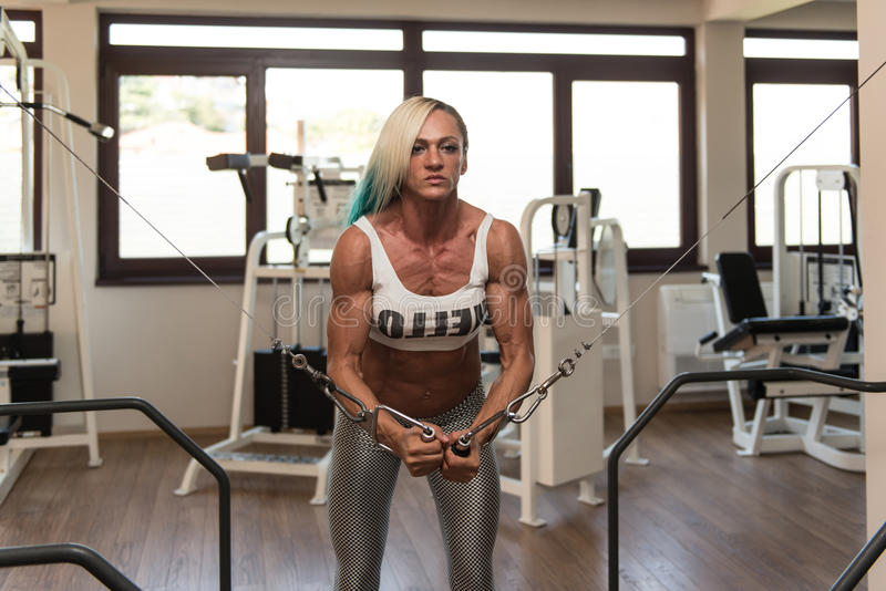 Muscular Bodybuilder Woman Performing Cable Crossover. Mature Woman Is Working On Her Chest With Cable Crossover In A Fitness Centar royalty free stock photo