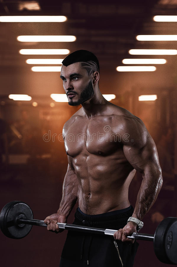 Muscular bodybuilder working out in gym royalty free stock images
