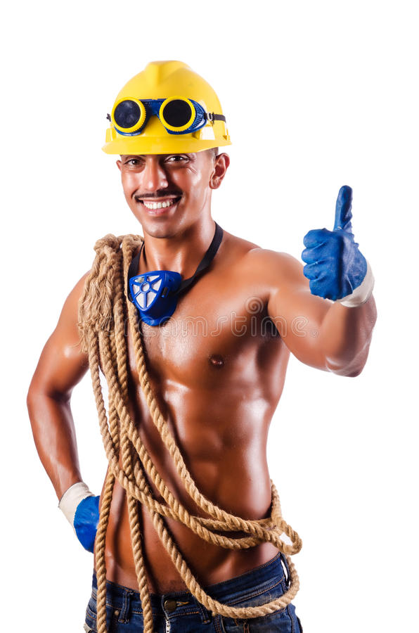 Download Muscular Builder With Tools  On White Stock Photo - Image: 26841900