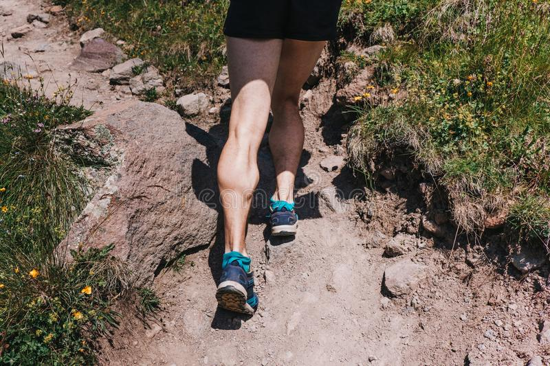 Muscular calves of a young athlete running up a mountain path, u stock image
