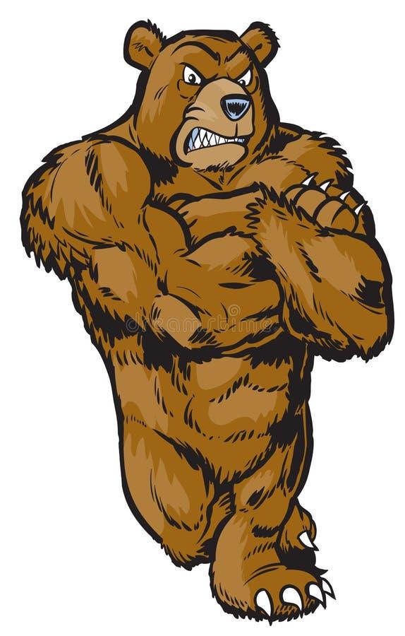 Muscular Cartoon Bear Mascot Leaning royalty free illustration