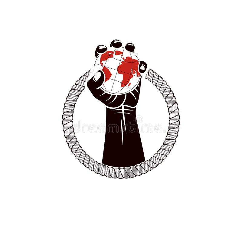 Muscular clenched fist of strong man surrounded by rope and hold. S Earth globe, vector illustration. Global authority as the means of political and social stock illustration