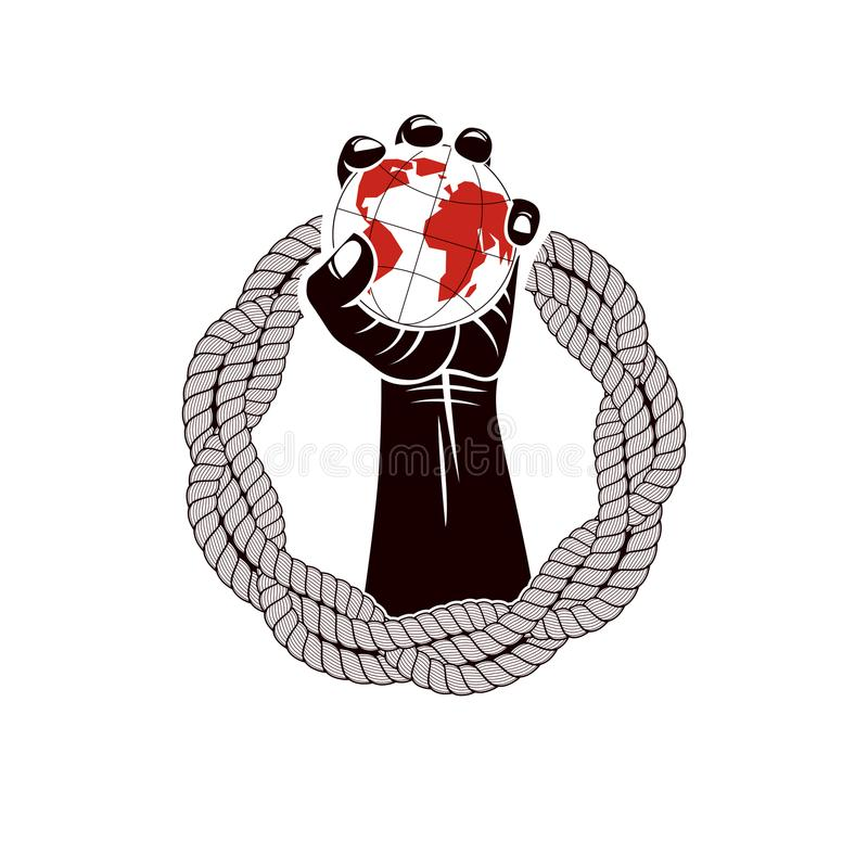 Muscular clenched fist of strong man surrounded by rope and hold. S Earth globe, vector illustration. Global authority as the means of political and social royalty free illustration