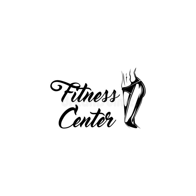 Muscular female body. Fitness center label emblem logo. Athletic women. Vector. stock illustration
