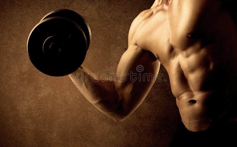 Muscular fit bodybuilder athlete lifting weight stock image