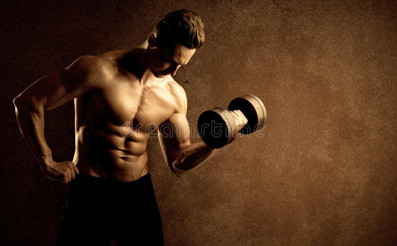 Muscular fit bodybuilder athlete lifting weight royalty free stock images