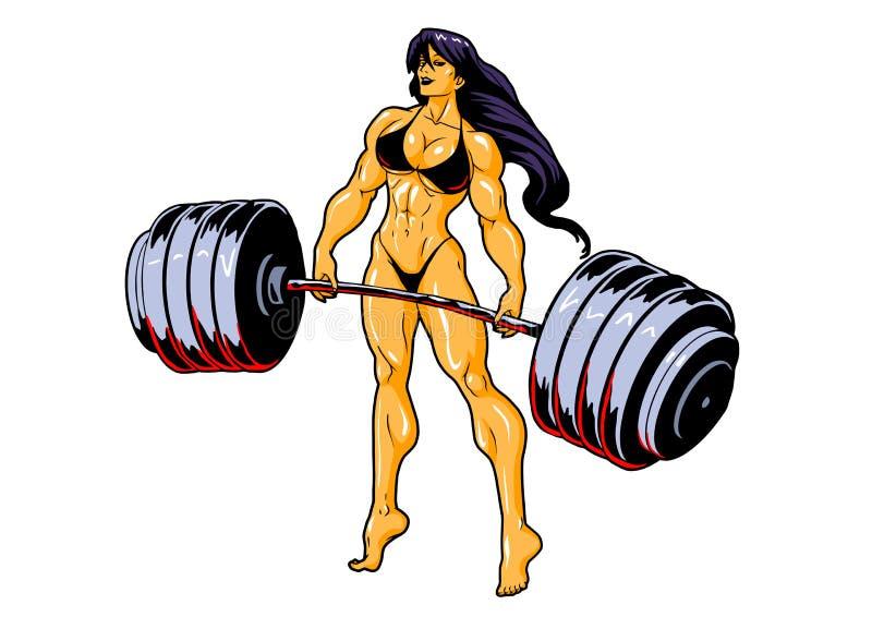 Muscular fitness girl in bikini with barbell stock illustration