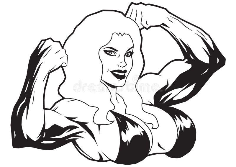 Muscular girl in bikini vector illustration