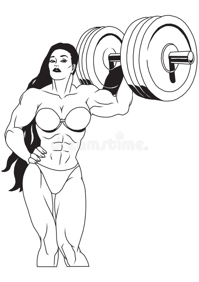 Muscular girl vector illustration
