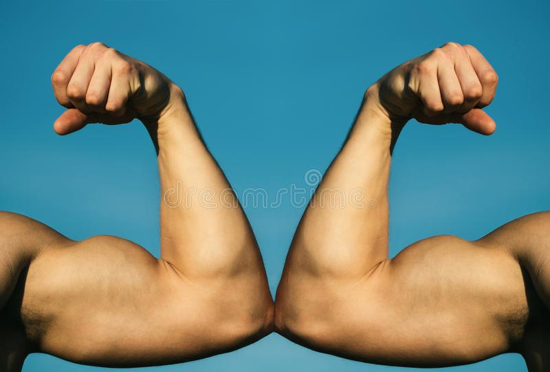 Muscular hand vs strong hand. Competition, strength comparison. Vs. Fight hard. Health concept. Hand, man arm, fis royalty free stock photos