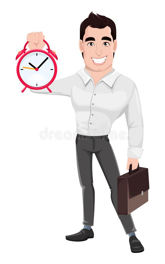 Muscular handsome businessman holding briefcase and alarm clock. Young happy smiling business man. Muscular handsome businessman holding briefcase and alarm vector illustration