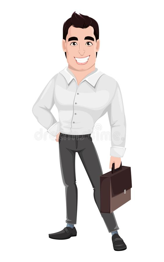 Muscular handsome businessman holding briefcase. Young happy smiling business man. Muscular handsome businessman holding briefcase. Cartoon character. Vector stock illustration