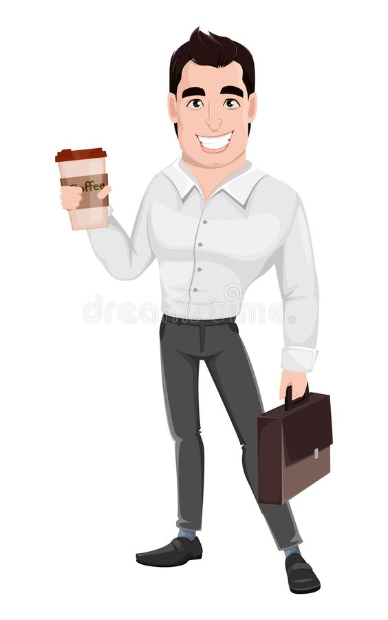 Muscular handsome businessman holding briefcase and coffee. Young happy smiling business man. Muscular handsome businessman holding briefcase and coffee royalty free illustration