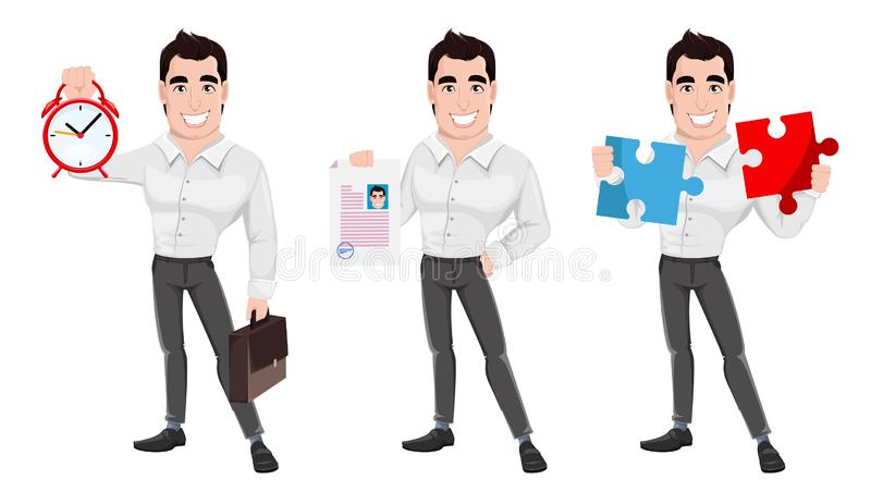 Young happy smiling business man, set of three poses. royalty free illustration
