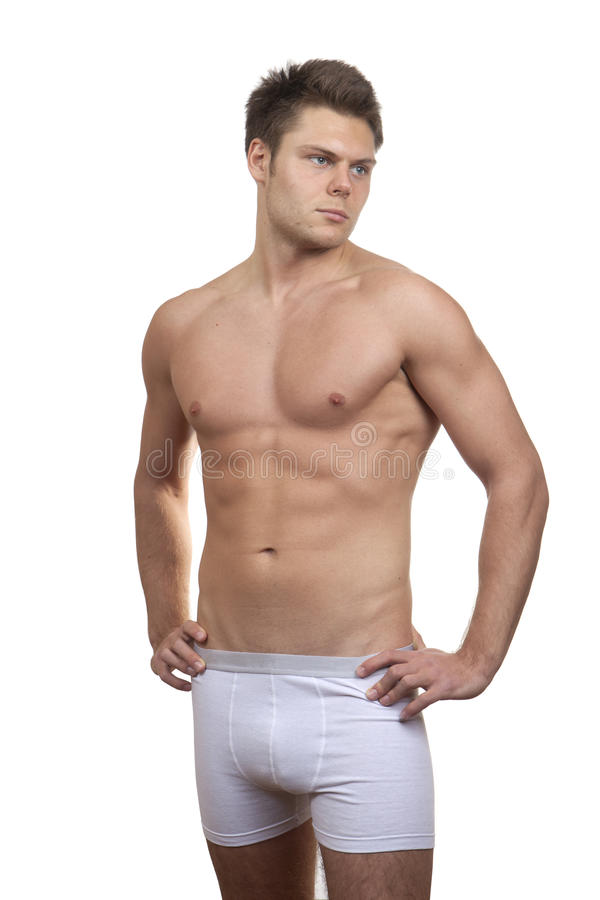 Muscular Handsome Man Isolated On White Stock Image