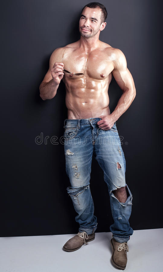 Muscular handsome man. royalty free stock photography