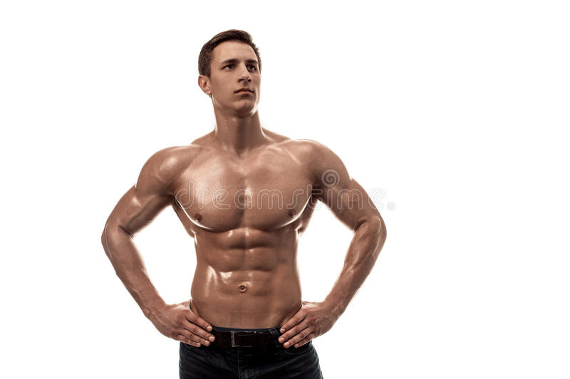 Muscular Handsome Young Man With Naked Torso. Isolated On
