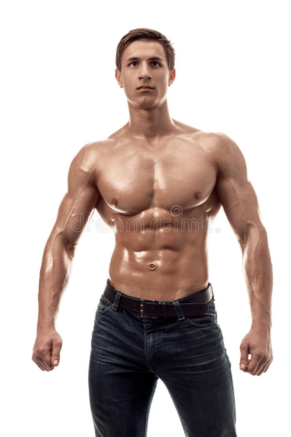 Young handsome businessmen with naked torso — Stock Photo