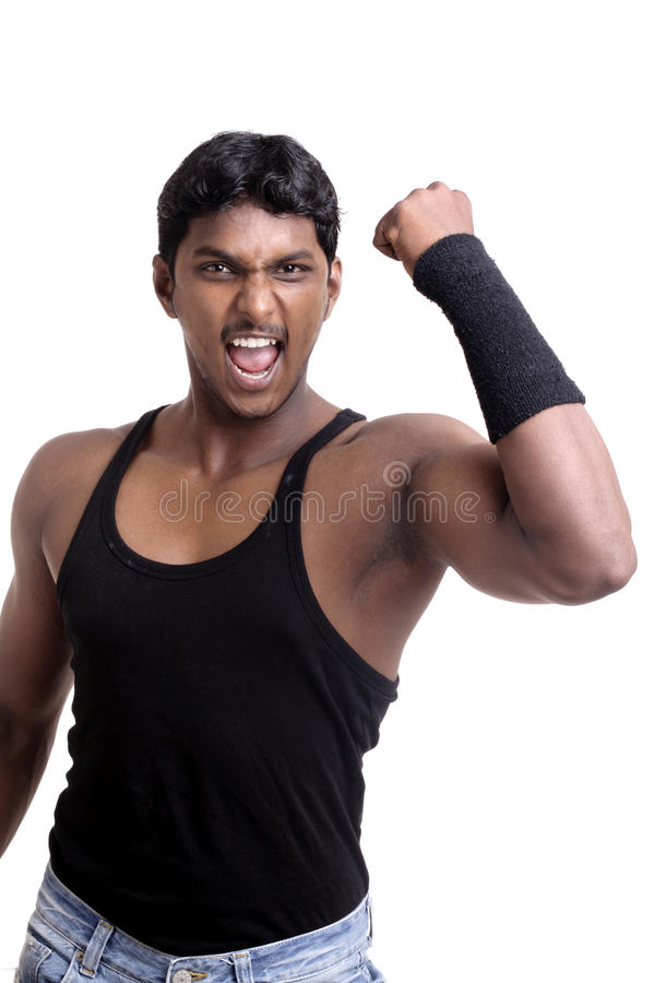 Download A muscular Indian man stock photo. Image of studio, white - 21688424