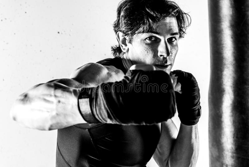 Muscular kickbox fighter royalty free stock photos