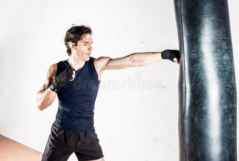 Muscular kickbox fighter stock image