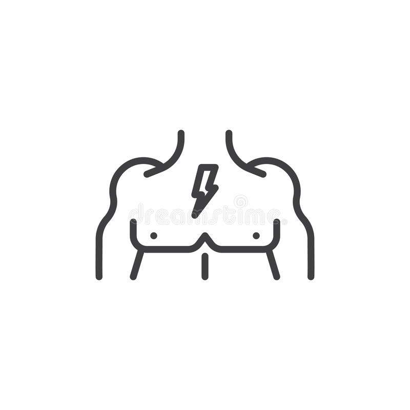 Muscular male chest line icon. Linear style sign for mobile concept and web design. Body chest muscles outline vector icon. Symbol, logo illustration. Pixel royalty free illustration