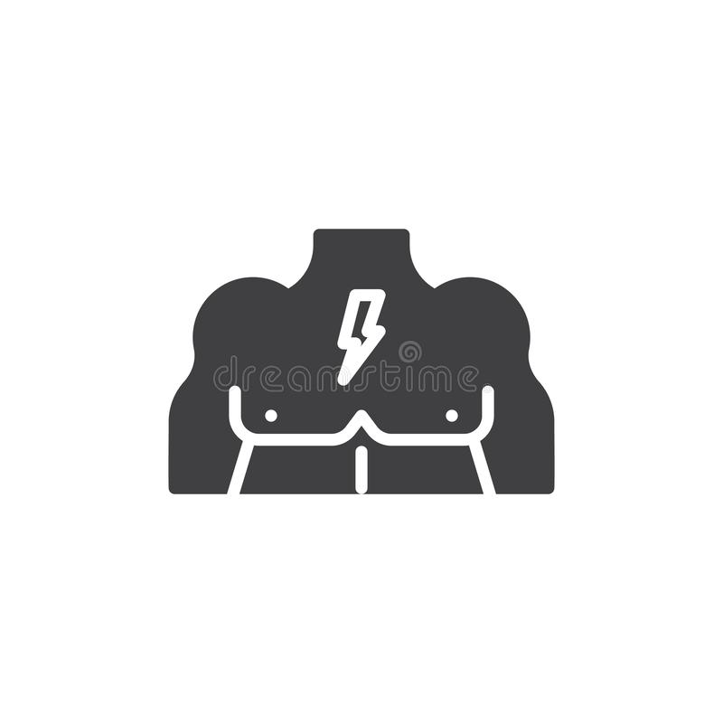 Muscular male chest vector icon. Filled flat sign for mobile concept and web design. Body chest muscles glyph icon. Symbol, logo illustration. Pixel perfect royalty free illustration