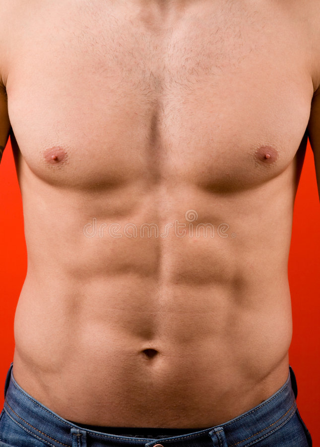 Download Muscular Male Torso Isolated On Red Background Stock Photo - Image: 7763230