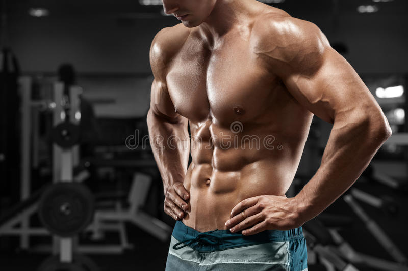 Muscular man abs in gym, shaped abdominal. Strong male naked torso, working out stock image