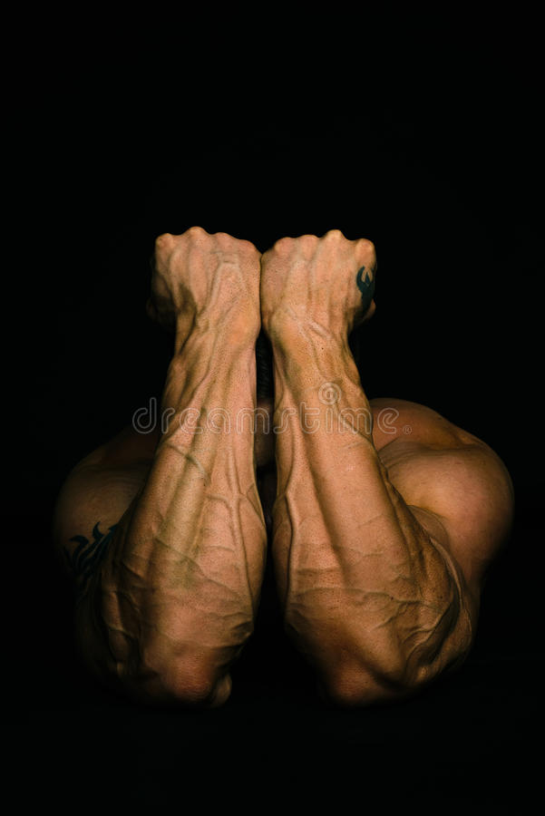 Muscular man arms stock images