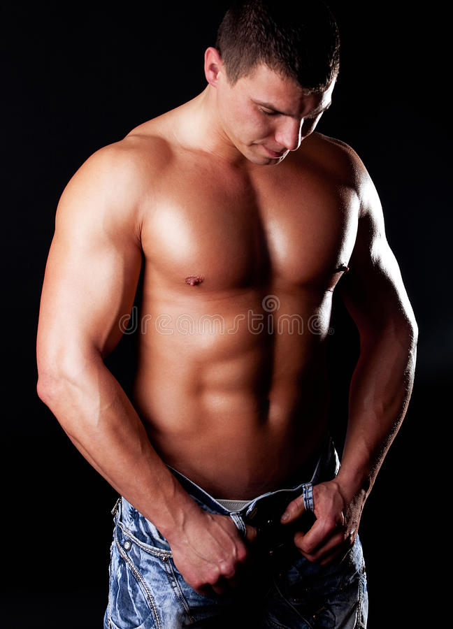 Muscular man with athletic body stock photography