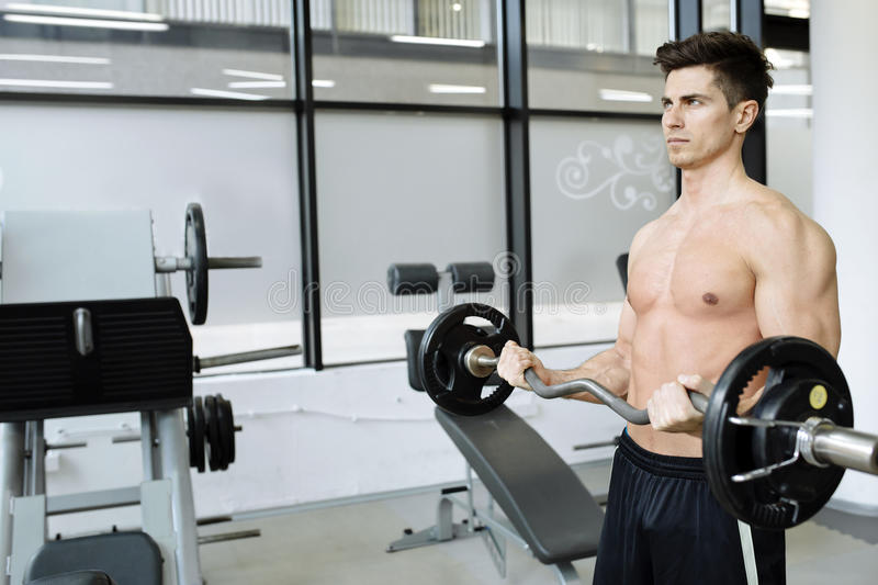 Muscular man bodybuilding in gym. Lifting weights stock image