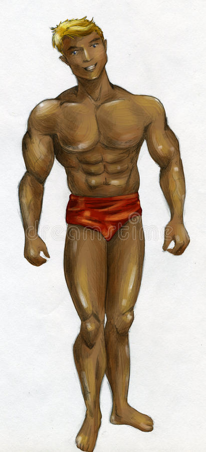 Muscular man with bronzed skin stock photography