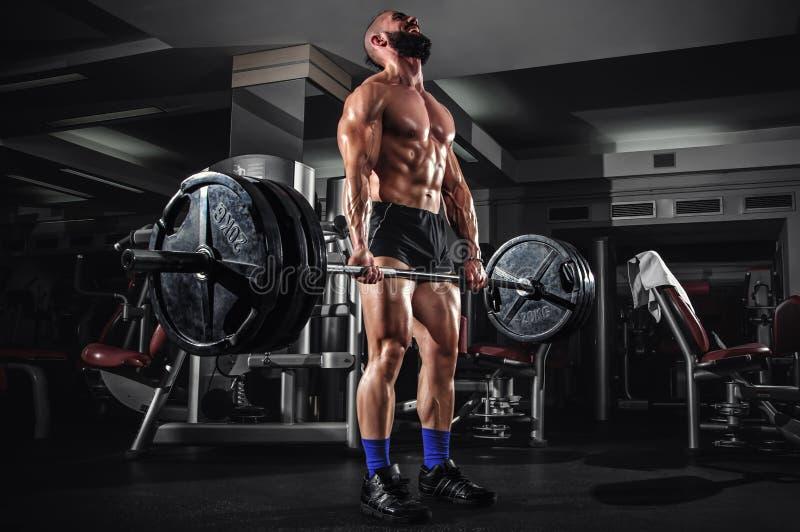 Muscular Man Doing Heavy Deadlift Exercise stock image