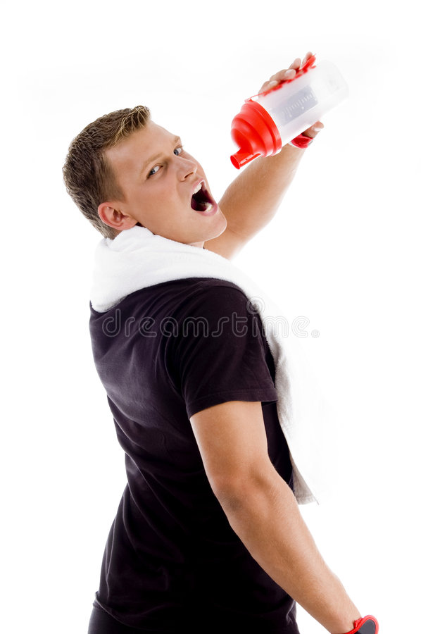 Download Muscular Man Drinking From Water Bottle Stock Image - Image: 7363873