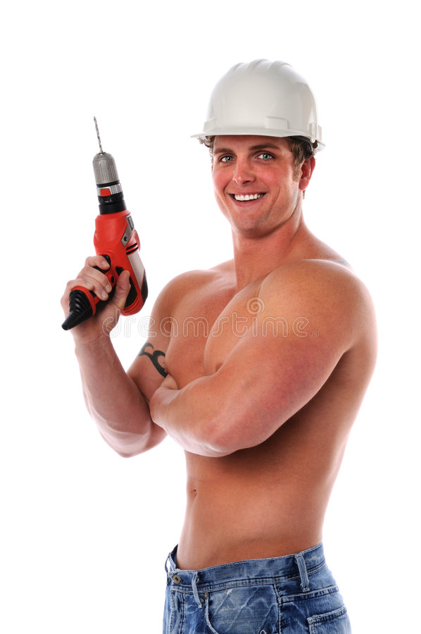Muscular Man Holding Drill royalty free stock images