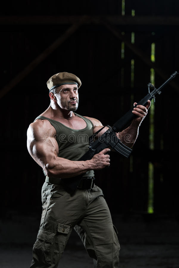 Sexy Cop Handsome Man Shirtless Gun Stock Photo (Edit Now