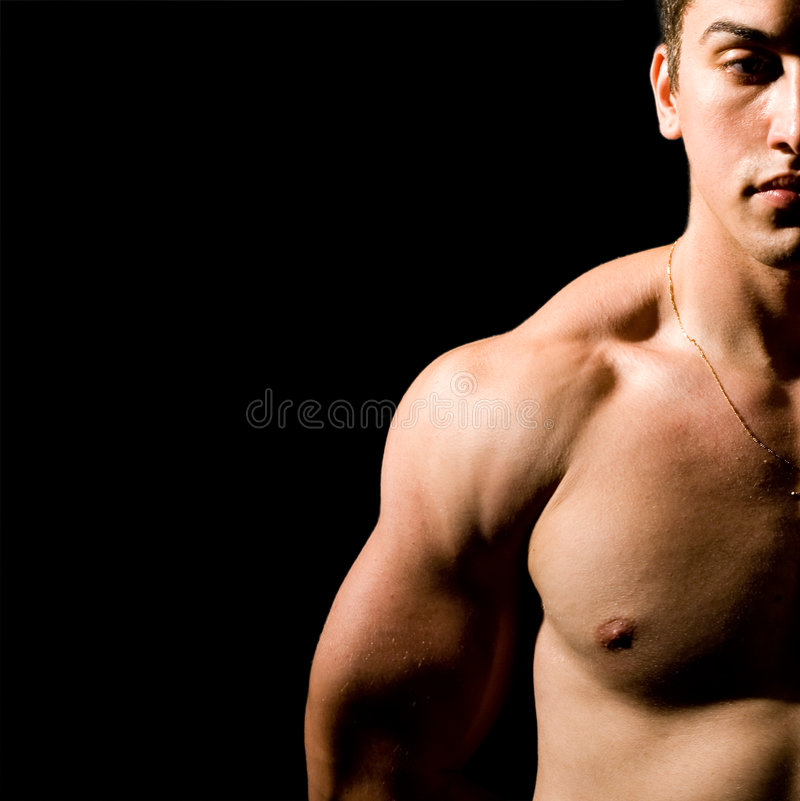 Download Muscular Man Isolated On Black Stock Photo - Image: 7571136