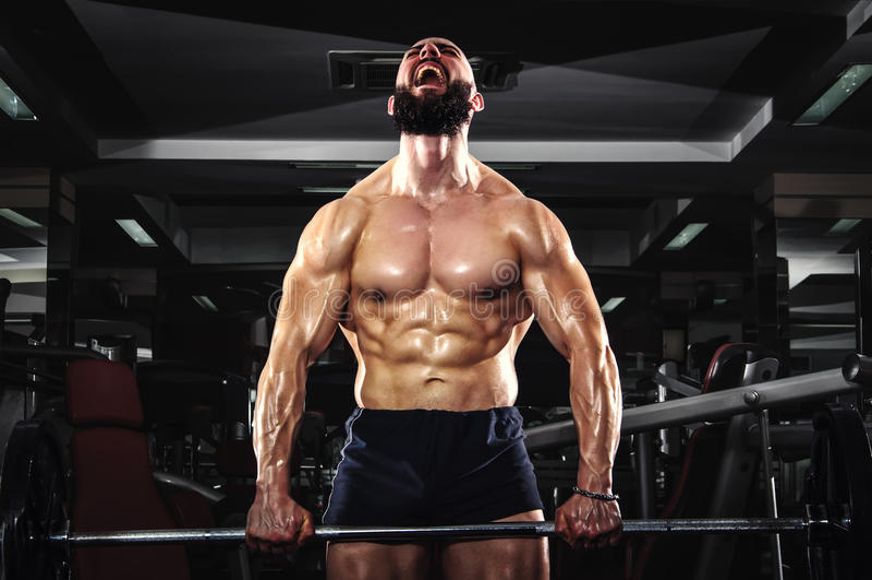Muscular Man Lifting Barbells stock image
